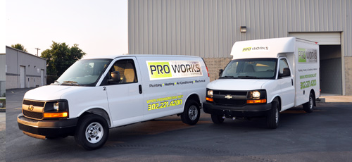 ProWorks provides routine maintenance, general service, and emergency repair, and we can handle any heating, air conditioning, plumbing, drain cleaning, water heater, sewer line, or water line job