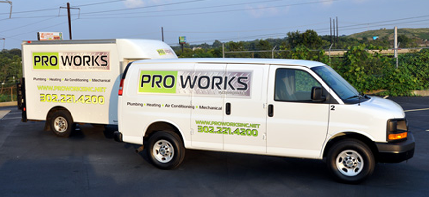 ProWorks provides comprehensive plumbing, heating, air conditioning, mechanical, drain cleaning, water heater, sewer line, and water line services to residential, commercial, and industrial customers in Delaware, southeastern Pennsylvania, and northeastern Maryland.